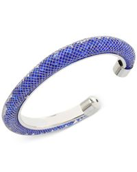 Betsey Johnson | Metallic Silver-tone Mesh-wrapped Blue Crystal Bangle Bracelet | Lyst