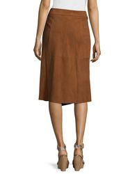 Tibi Brown Suede Wrap Skirt
