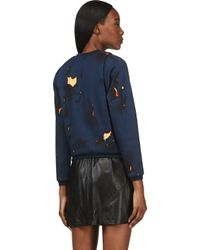 3.1 Phillip Lim - Blue Navy and Orange Folded Off The Wall Sweatshirt - Lyst