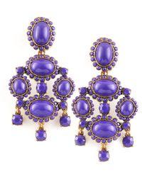 Oscar de la Renta | Purple Cabochon Drop Clip Earrings | Lyst
