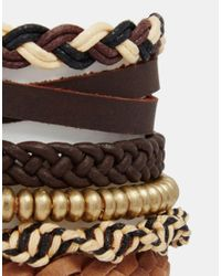 ASOS Leather Bracelet Pack In Brown With Anchor And Gold Beads for men