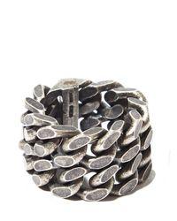 Saint Laurent | Metallic Mens Silver Double Chain Ring for Men | Lyst