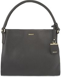DKNY | Gray Tribeca Pebbled Leather Hobo Bag | Lyst