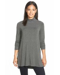 Eileen Fisher - Gray Funnel Neck Jersey Tunic - Lyst