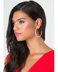 Bebe | Metallic Tiny Flower Hoop Earrings | Lyst