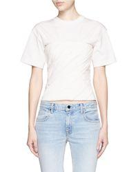 Alexander Wang White Ruched Jersey Bustier T-shirt