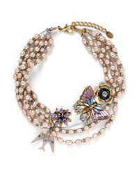 Erickson Beamon - Metallic Iron Butterfly' Glass Pearl Swallow Pendant Necklace - Lyst