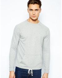 ASOS | Gray Sweatshirt with Drawstring Hem for Men | Lyst