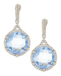 Judith Ripka - Blue Micro-Pave White Sapphire Eclipse Quartz Earrings - Lyst