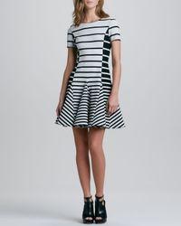 Halston Black Striped Fitandflare Dress