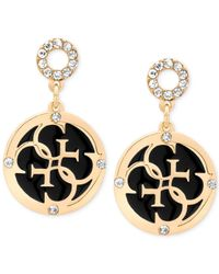 Guess Gold-tone With Clear Crystal And Circle Black Enamel Drop Earrings