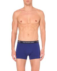 Ralph Lauren | Blue Pack Of Three Stretch-cotton Trunks for Men | Lyst