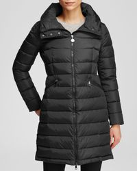 Moncler | Black Flammette Down Coat With Stowable Hood | Lyst