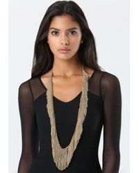 Bebe | Metallic Allover Fringe Necklace | Lyst