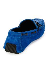 Bottega Veneta Blue Suede Woven-front Driver for men