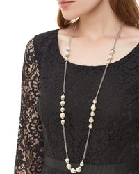 Jaeger - White Capped Pearl Station Necklace - Lyst