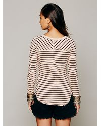 Free People Natural Hard Candy Stripe Cuff Top