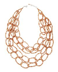 Panacea - Metallic Multi-strand Crystal Link Necklace - Lyst