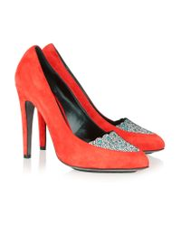 Aperlai Red Suede And Leather Pumps