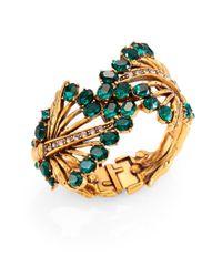 Oscar de la Renta | Green Cutout Jeweled Cuff Bracelet | Lyst