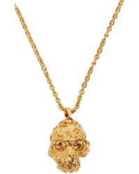 Alexander McQueen | Metallic Gold Forest Rose Skull Pendant | Lyst