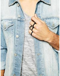 ASOS - Black Circular Caged Ring Pack for Men - Lyst