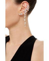 Ryan Storer White Rhodium Plated Swarovski Crystal Drop Ear Cuff With Stud