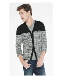 Express - Black Marl Color Block V-neck Cardigan for Men - Lyst