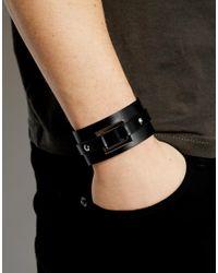Seven London Black Leather Cuff Bracelet for men