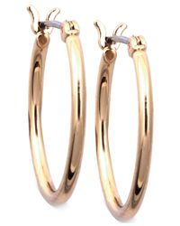 Nine West | Metallic Gold-tone Small Tube Hoop Earrings | Lyst