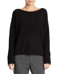 Lord & Taylor | Black Wool Blend Waffle Knit Sweater | Lyst
