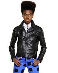 KENZO Black Velvet Logo On Nappa Leather Jacket