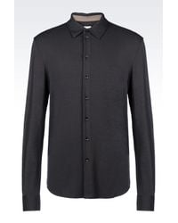 Armani | Gray Shirt In Stretch Viscose Jersey for Men | Lyst