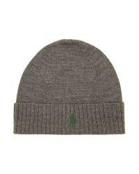 Polo Ralph Lauren Gray Polo Pony Beanie Hat for men