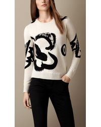 Burberry Natural Flower Intarsia Wool Cashmere Sweater