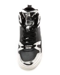DKNY Cleo High Top Sneakers - Black/Silver