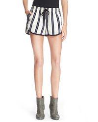 Rag & Bone Black 'beach' High Rise Stripe Shorts