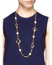 Kenneth Jay Lane - Metallic Faux Pearl Station Crystal Chain Necklace - Lyst
