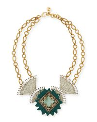 Lulu Frost - Metallic One-of-a-kind 50 Year Necklace with Green Vintage Buckle Elements - Lyst