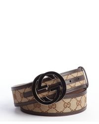 Gucci - Brown Gg Plus Canvas Gg Buckle Belt for Men - Lyst