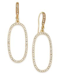 INC International Concepts | Metallic Gold-tone Crystal Pavé Oval Drop Earrings | Lyst