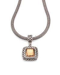 John Hardy | Metallic Palu 18K Yellow Gold & Sterling Silver Medium Square Pendant | Lyst