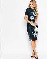 ASOS Blue Premium Placed Dark Scuba Floral Midi Bodycon Dress