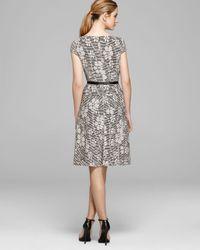 Anne Klein White Dress Cap Sleeve Textured Knit Belted Swing