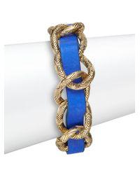 House of Harlow 1960 | Blue Engraved Link Leather Bracelet/goldtone | Lyst