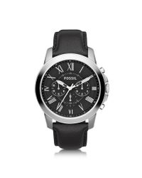 Fossil | Black Grant Chronograph Leather Men'S Watch for Men | Lyst