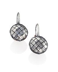 Bottega Veneta - Metallic Intrecciato Sterling Silver Drop Earrings - Lyst