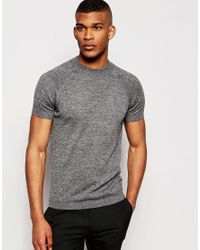 ASOS Gray Muscle Fit Knitted T-shirt In Merino Wool Mix for men