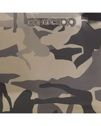 Jimmy Choo - Carnaby Black And Gunmetal Camouflage Mirror Leather Travel Wallet for Men - Lyst