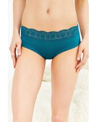 Out From Under | Blue Fara Lace-trim Hipster | Lyst